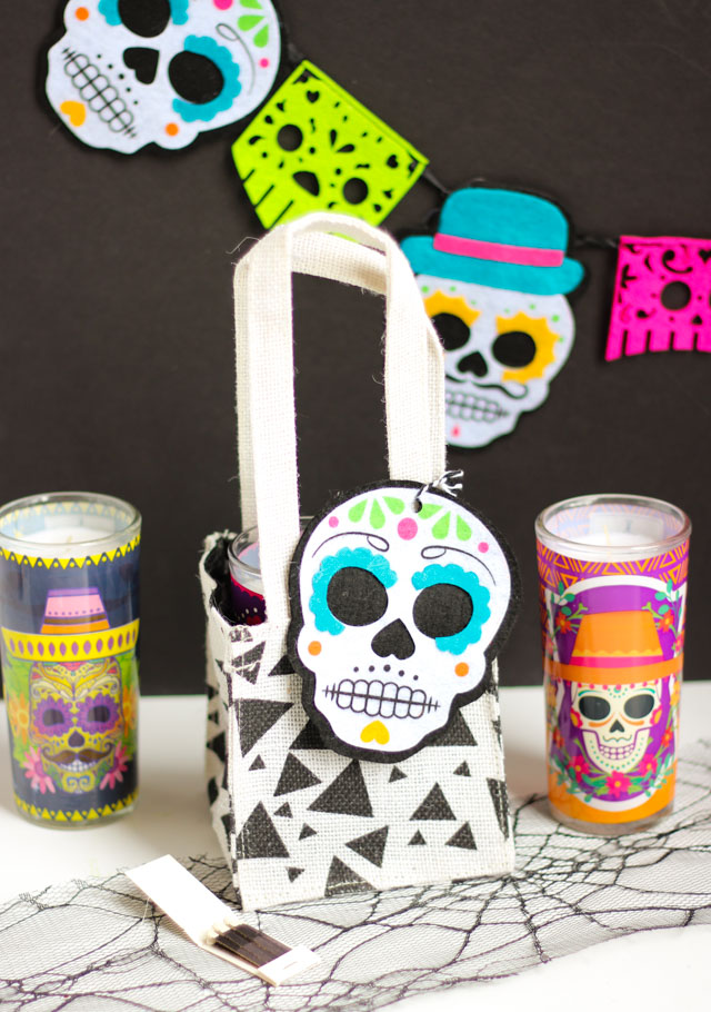 Day of the Dead candle gift bag idea - a fun Dia del Muertos surprise!