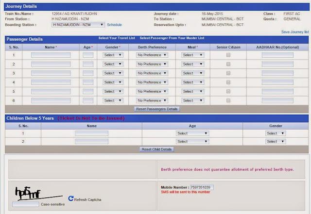 passenger details for reservation on irctc