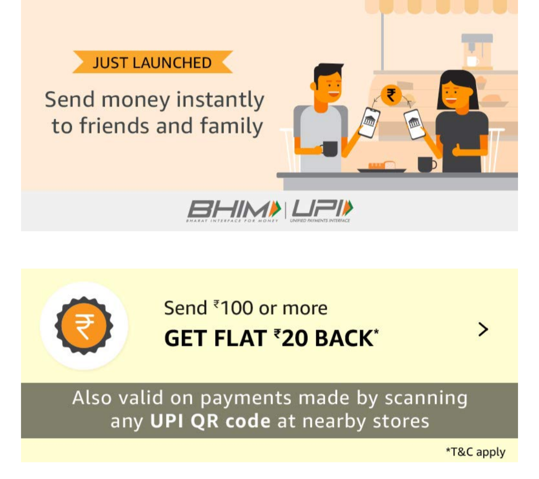 Amazon UPI Loot – Get Rs 100 Amazon Pay Cashback on Money Transfer
