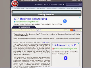 Transition in the Internet Age, screenshot of UseMyServices Press-release: