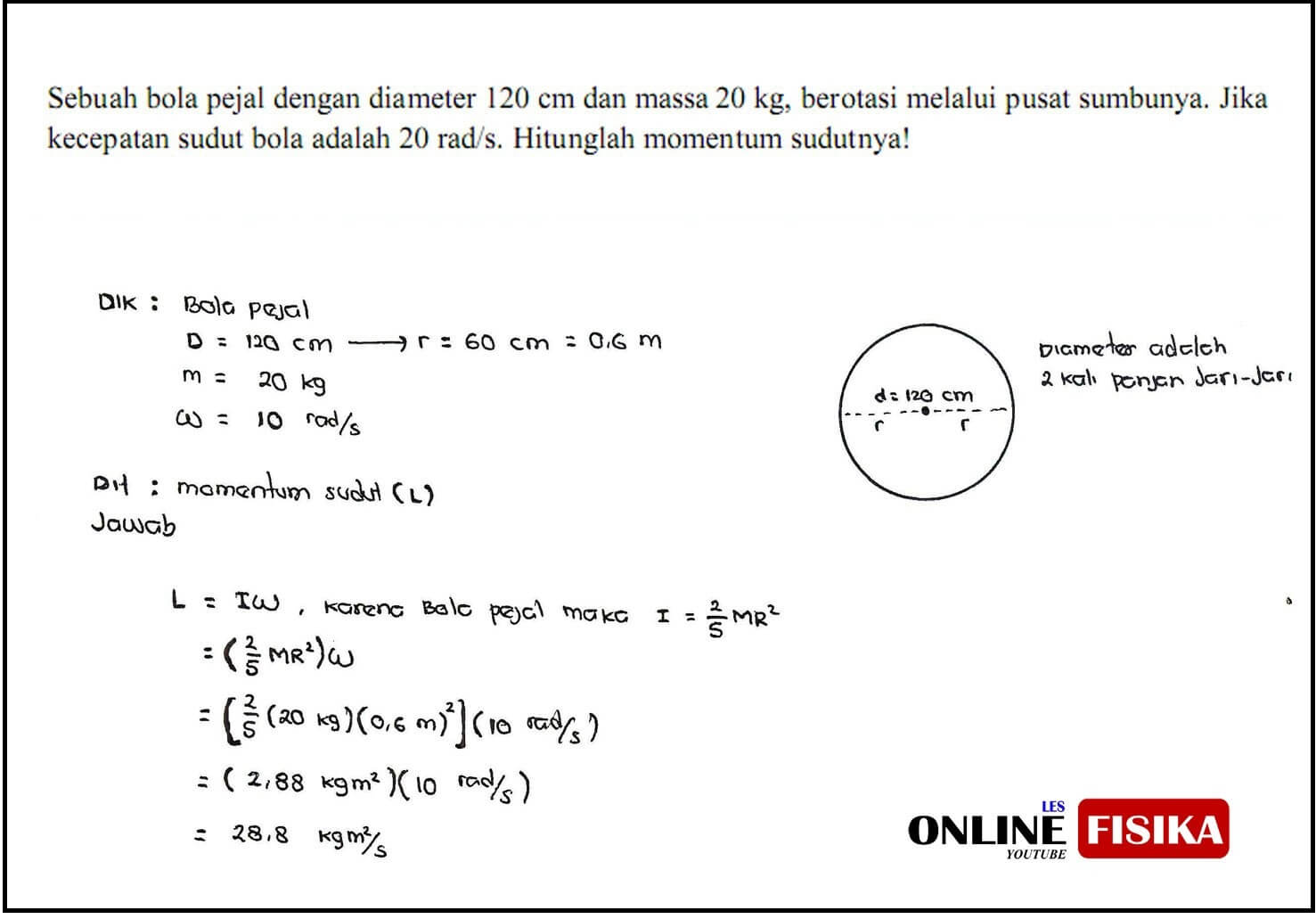 Contoh Soal Momentum Sudut Dinamika Rotasi Les Online Fisika