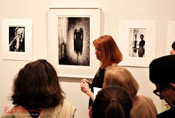 Anne Lynam speaking at her show 'Arcana' Barometer Gallery, Sydney.