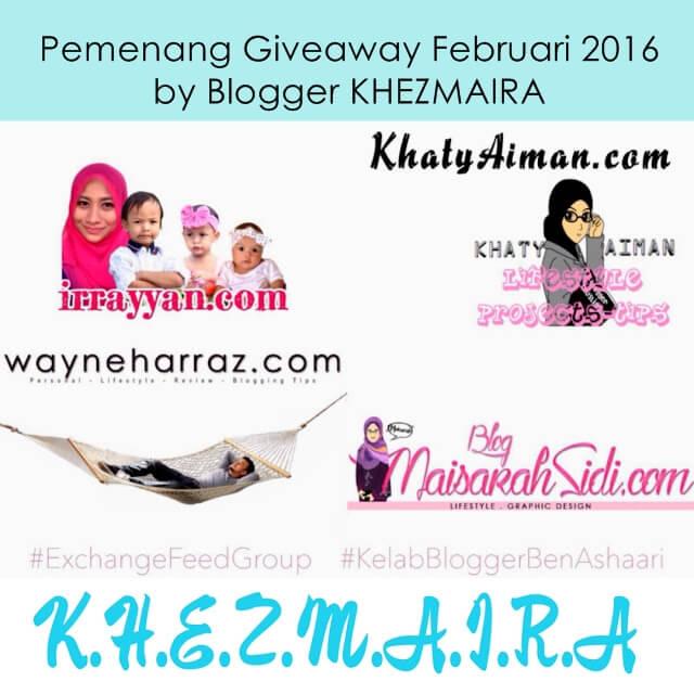 Pemenang Giveaway Februari 2016 by Blogger KHEZMAIRA