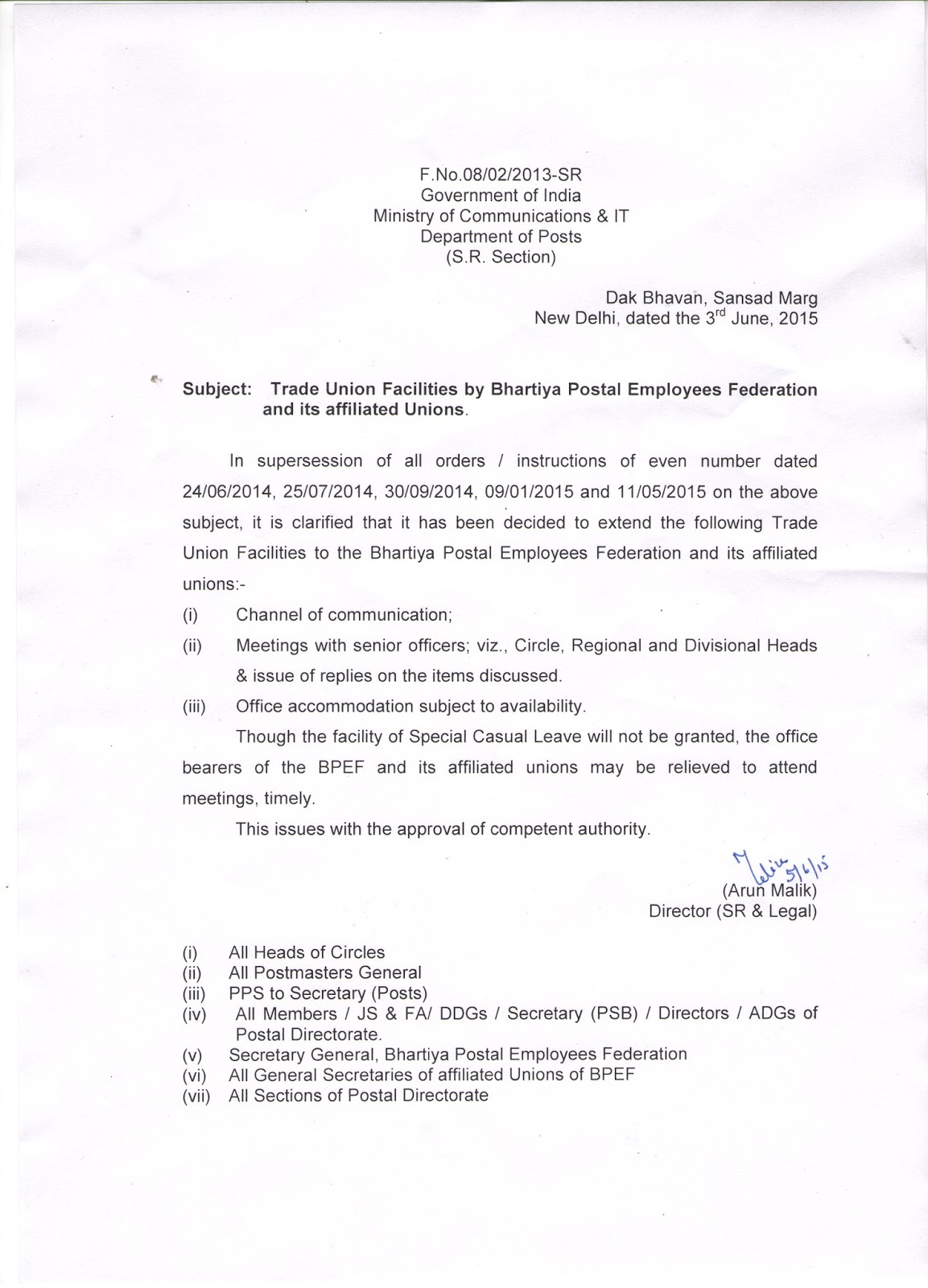 bharatiya postal employees federation  trade union facilities by bharatiya postal employees federation and its affiliated unions clarification