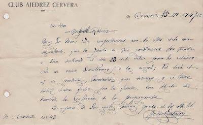 Confirmación de unas simultáneas a la ciega en Cervera 1947