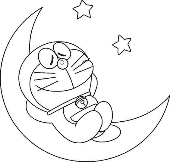 Tranh cho bé tô màu Doraemon ngủ trên mặt trăng