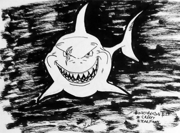 Inktober 2016 - Jour 27 - Terrifiant (Creepy) - le grand requin blanc