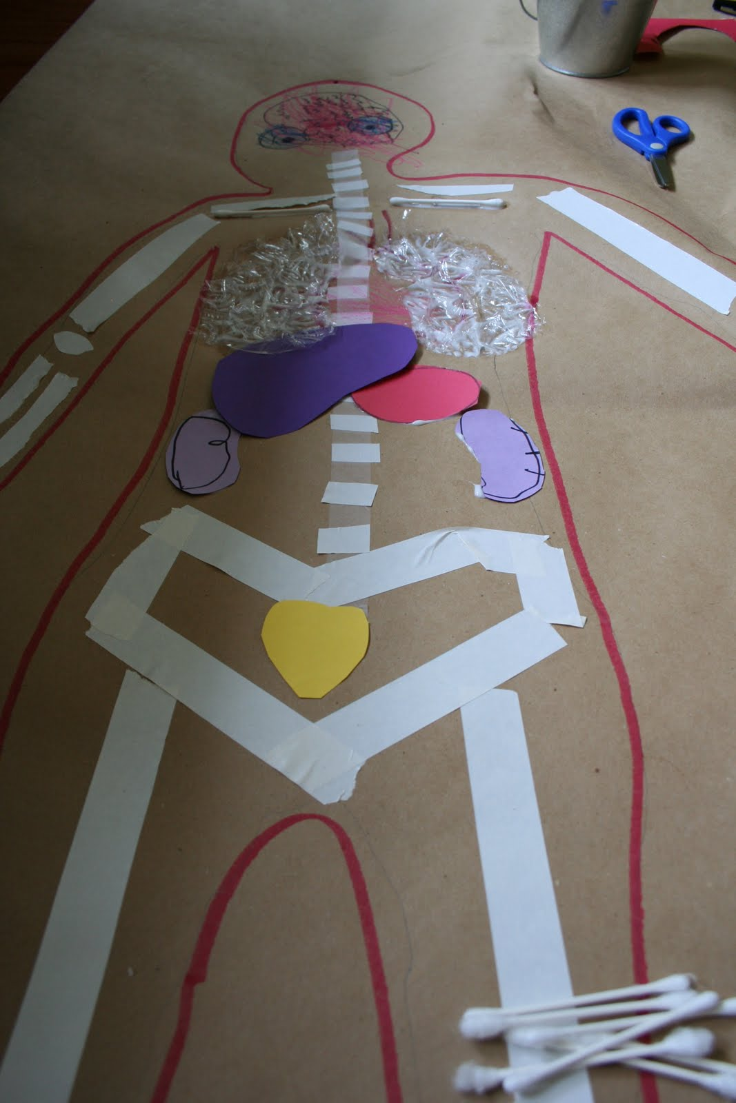Pink And Green Mama Life Sized Body Map Kids Art Project
