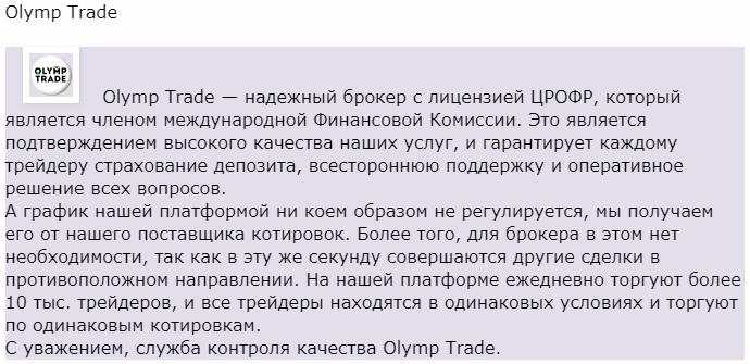 Олимп Трейд отзыв представителя компании