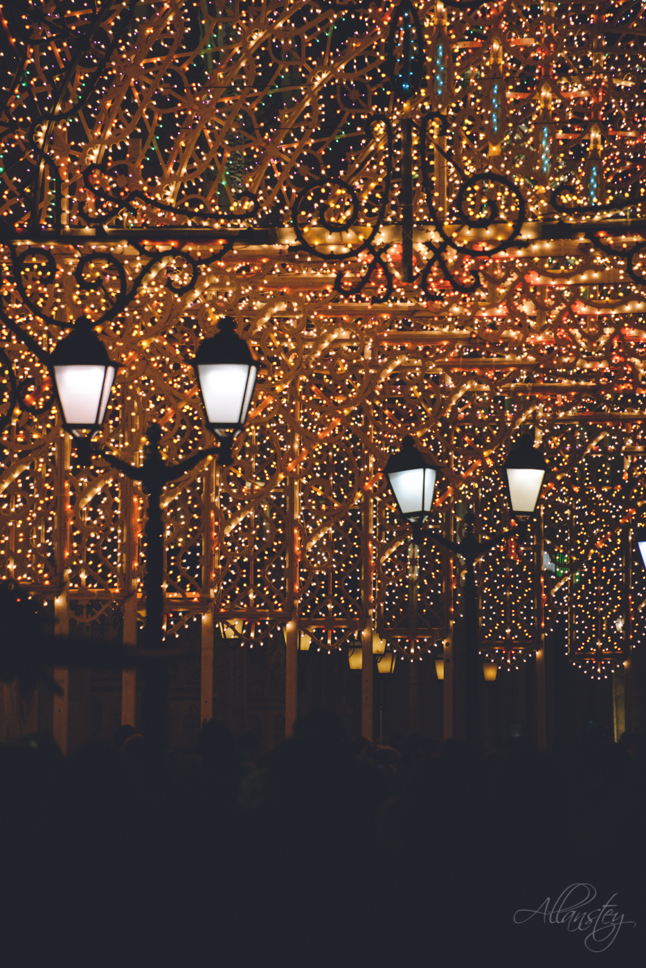 lanterns and Chrismas lights on Nikolskaya Street in Moscow, Russia.