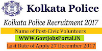 Kolkata Police Recruitment 2017 – 25 Civic Volunteers