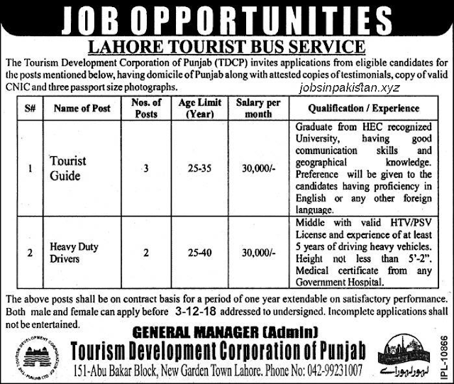 Advertisement for Lahore Tourist Bus Service Jobs 2018
