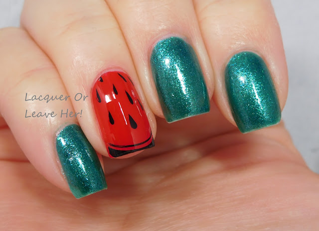 Julep Karissa and China Glaze Watermelon Rind + UberChic Beauty 9-01