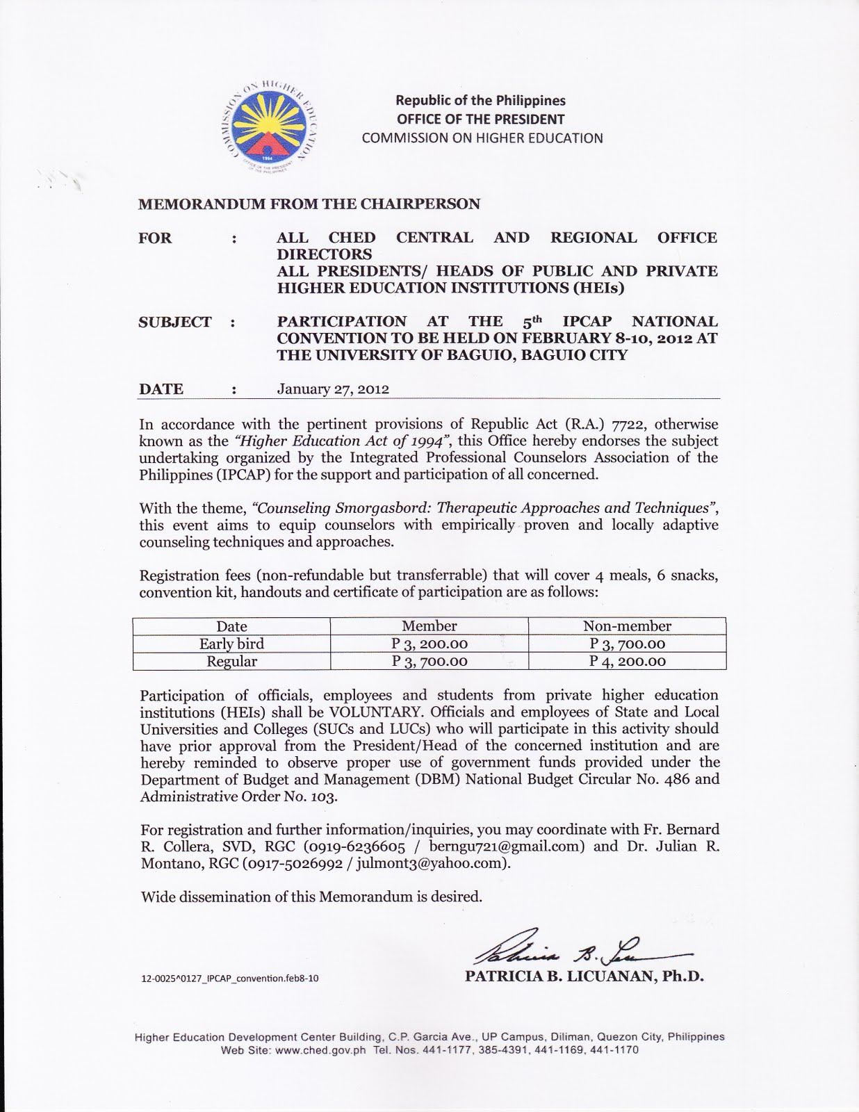 Counseling Psychology in the Philippines: CHED Memo for IPCAP 5th