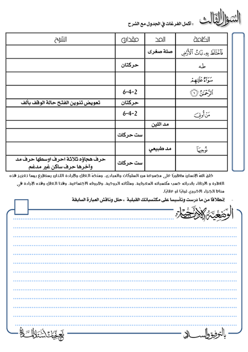 امتحان التربية الإسلامية