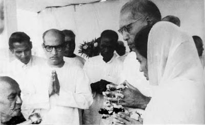 Dr Ambedkar and his wife during 'Dhamma Diksha' at Nagpur
