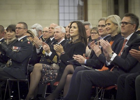Crown Princess Mary wore Julie Fagerholt Heartmade flower print dress, Prada coat, Bottega Veneta clutch
