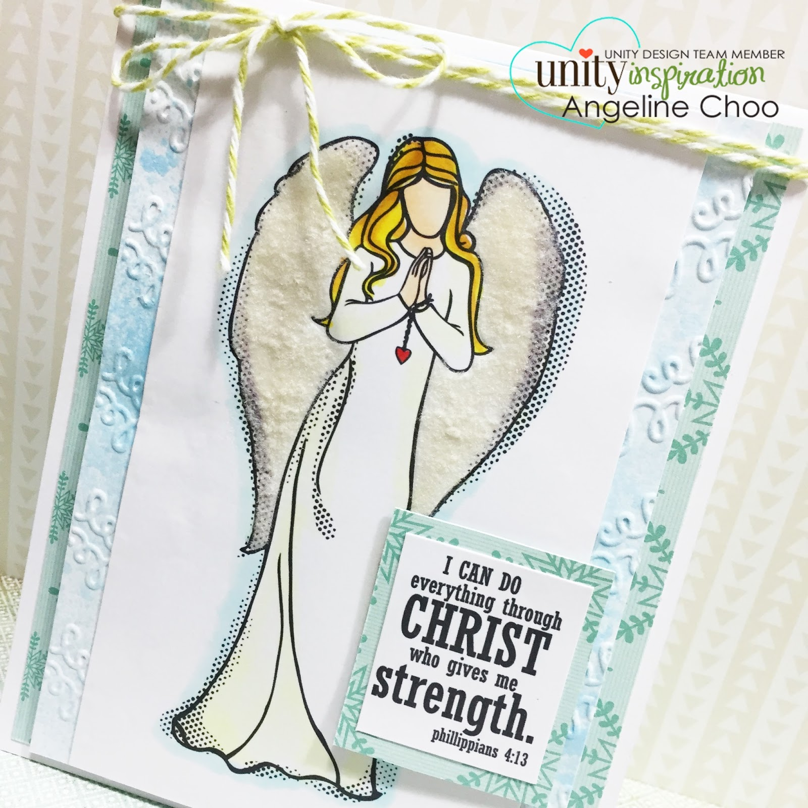 ScrappyScrappy: I can do everything through Christ who strengtens me #scrappyscrappy #unitystamp #card #flocking #emboss #primacolorbloomspray #primamarketing