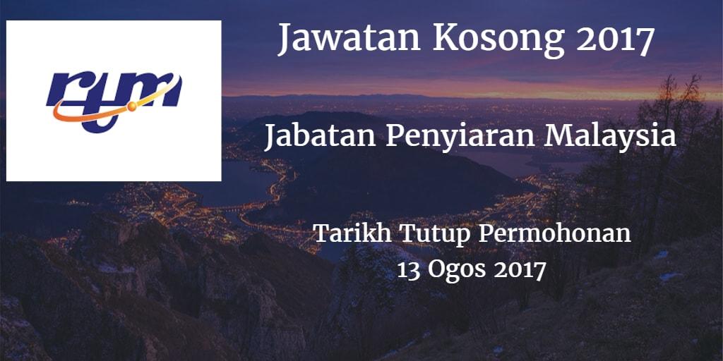 Jawatan Kosong RTM 13 Ogos 2017