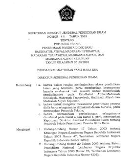 Direktur Jenderal Pendidikan Islam Kementerian Agama telah menerbitkan  Juknis PPDB MI MTs MA MAK 2019
