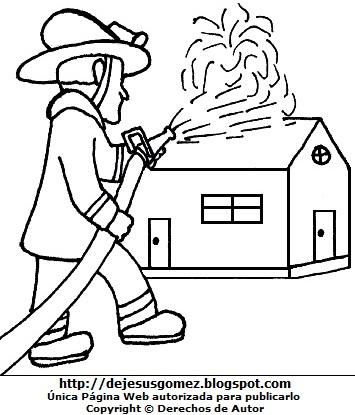 Hombre trabajando de bombero para colorear pintar (Hombre apagando incendio). Dibujo de hombre de Jesus Gómez