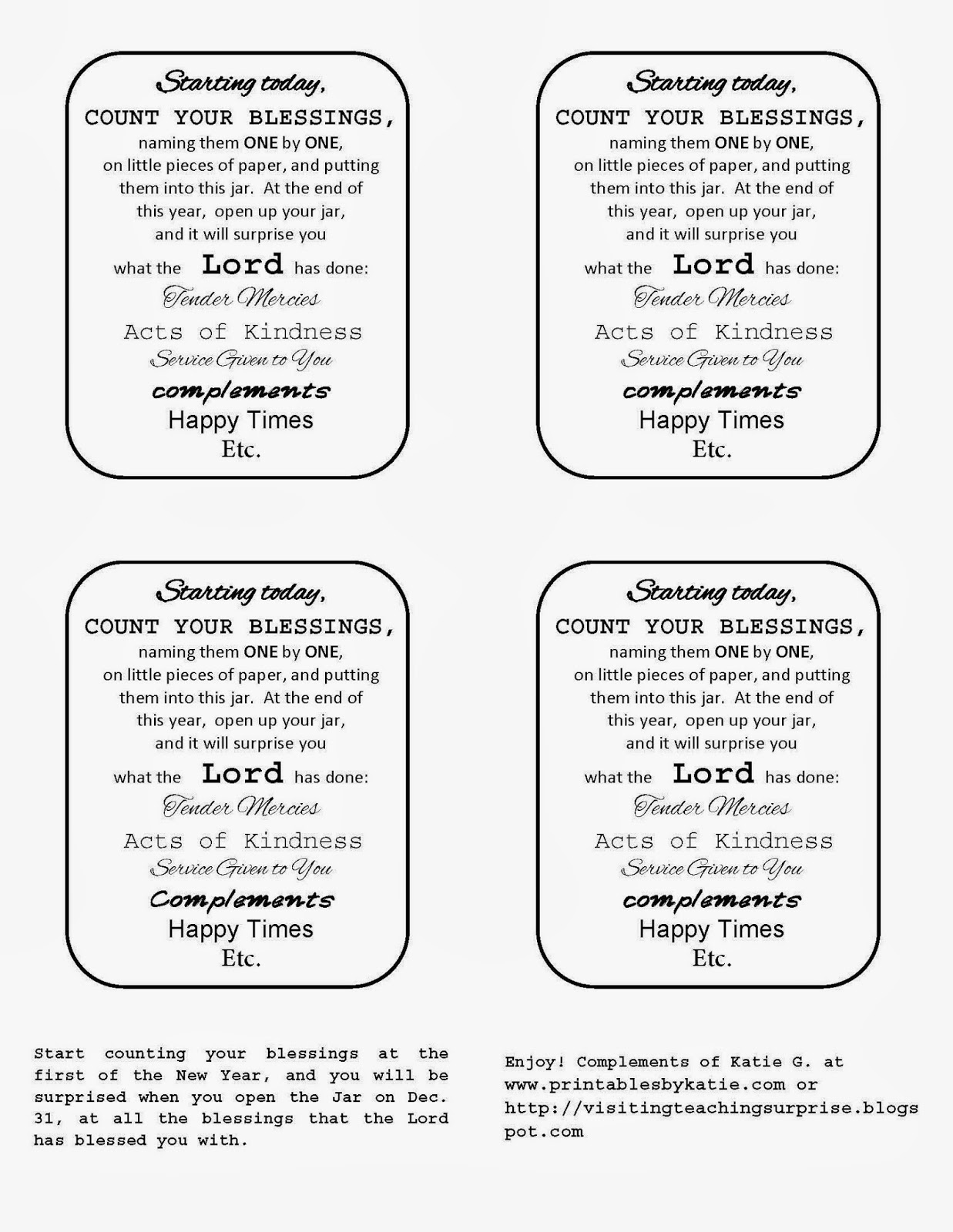 Visiting Teaching Surprise Count Your Blessings Jar Labels