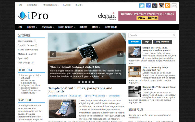 iPro Free Blogger Template