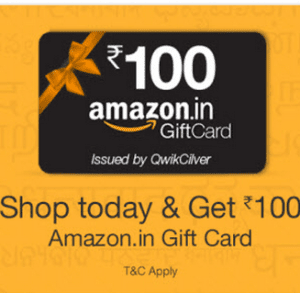 amazon offer: Get 100 Rs gift voucher for free