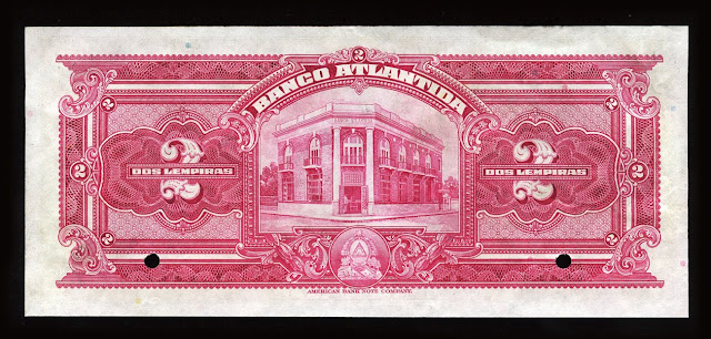 Honduras early currency bank notes 2 Lempiras Banco Atlantida