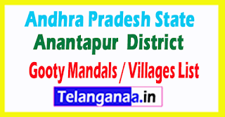 Gooty Mandal Villages Codes Anantapur District Andhra Pradesh State India