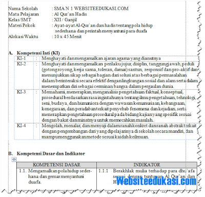 RPP Al Quran Hadits Kelas 12 Kurikulum 2013 Revisi 2018