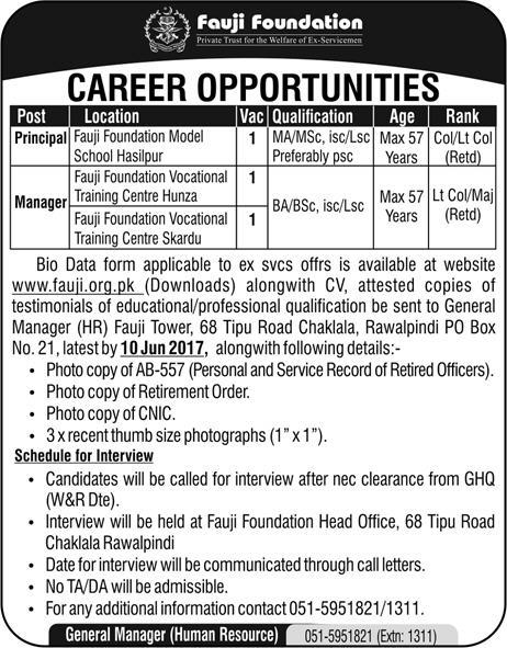 Principal Jobs In Fauji Foundation Rawalpindi 24 May 2017