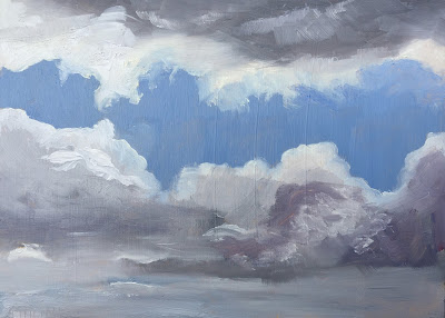 Cloud study, painted en plein air in the Stockholm archipelago, Sweden by Philine van der Vegte.