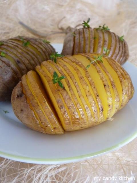 картофи, нарязани като акордеон, картофи хаселбак
