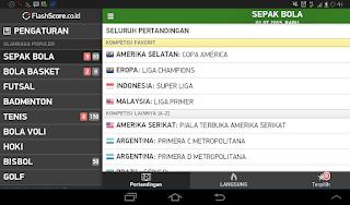 Tampilan Aplikasi Flashscore User Friendly