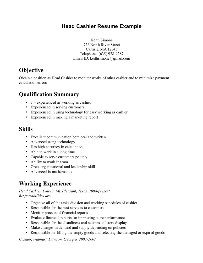 Examples Of Resumes Cashier Position | Cover Letter And Resume Samples