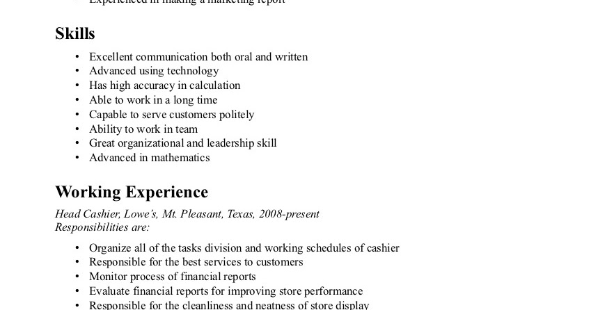 Cashier Resume Sample Sample Resumes