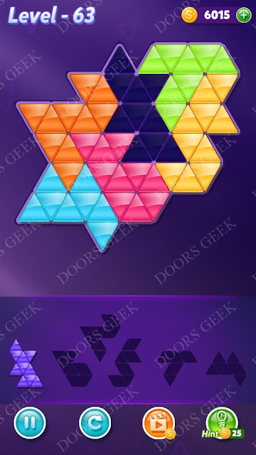 Block! Triangle Puzzle Intermediate Level 63 Solution, Cheats, Walkthrough for Android, iPhone, iPad and iPod