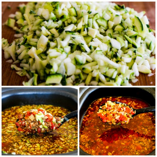 Slow Cooker Zucchini e Fagioli Soup with Italian Sausage and Ground Beef found on KalynsKitchen.com