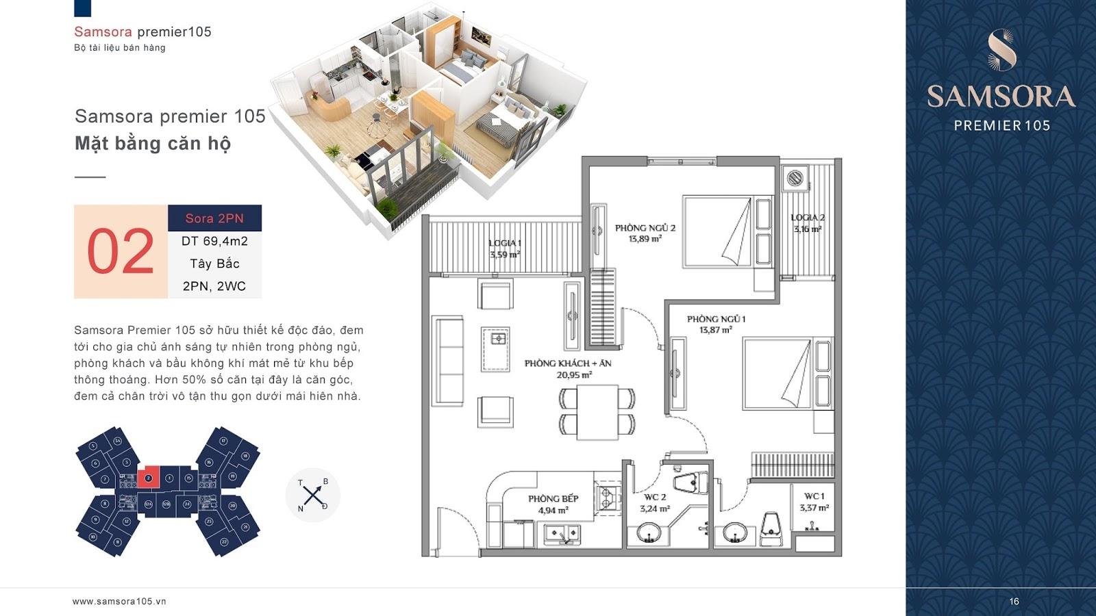 Mặt bằng căn hộ số 02 chung cư Samsora Premier
