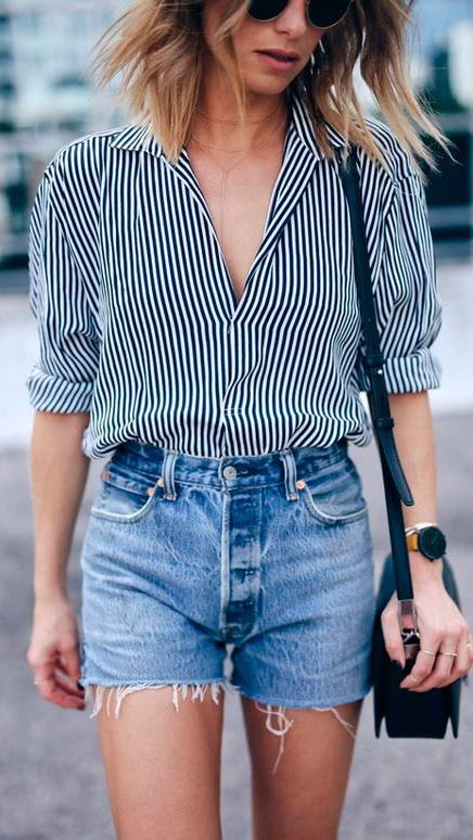 how to style a denim shorts : stripped shirt + bag