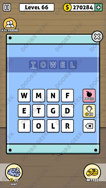 The answer for Escape Room: Mystery Word Level 66 is: TOWEL