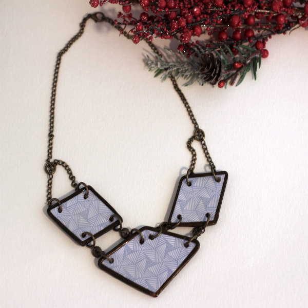 geometric security envelope paper necklace on brass chain