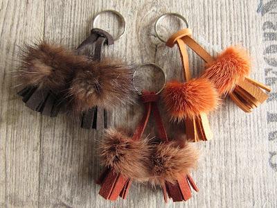 mini leather tassel with fur trimming