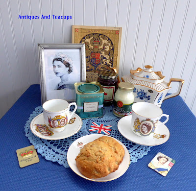 Tuesday Cuppa Tea Queen Elizabeth II Ascension Anniversary Tea, Pear Ginger Drop Scones