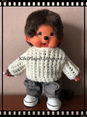 pull à côtes ajourées,fait main, kiki,monchhichi, handmade, tricot, vintage, peluche