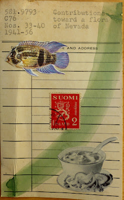 Freud Finland Stamp tropical fish vintage ad library card Dada Fluxus mail art collage