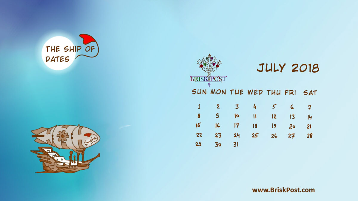 Monthly view of July 2018 Calendar with theme illustration of ship in sea below moon in night