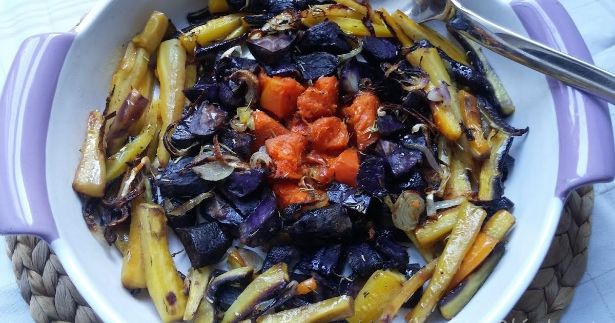 des racines et des vitamines carottes et pommes de terre violettes au four la f e st phanie. Black Bedroom Furniture Sets. Home Design Ideas