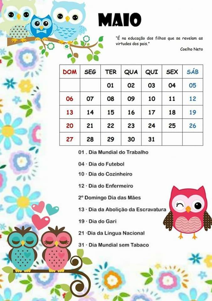 e4337d070ce35 Cantinho das Atividades Escolares  Calendário com Datas ...